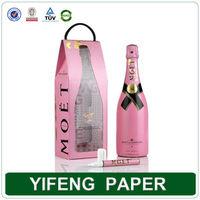 Custom printed luxury gift bag wine bottle paper bag with handle