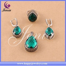 New trendy design fashionable jewelry big green zircon thai silver jewelry party 0736T23