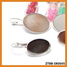 Fashion Silver French Lever Back Earrings Bezel/Base,fit 18*25MM glass cabochons;earring blank,jewelry bezels ZTBB-ER0045