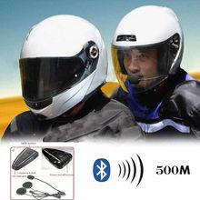 500M BT Bluetooth Motorcycle Motorbike Helmet Interphone Intercom Headset New