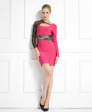 Empire style long sleeve bodycon dress pattern christmas evening party dress