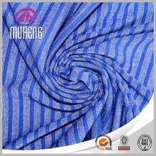 Knitting yarn dyed single jersey rayo silver silk fabric