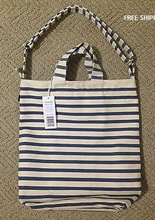 BAGGU 100% Recycled Cotton CANVAS SAILOR STRIPE DUCK TOTE BAG