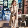 Envío gratis de otoño e invierno 2014 vestido de corea del estilo de la moda elegante oficina rebeca de punto jersey de la rodilla- longitud 8030 vestidos