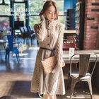 Free Shipping Autumn And Winter Dress 2014 Korean Style Elegant Fashion Office Knitted Cardigan Sweater Knee-Length Dresses 8030