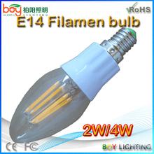 Hot sale 4w e14 e12 led filament bulb light,e14 bulb filament bulb lamp