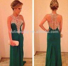 Hot sale green sleeveless diamond bra long chiffon prom dress with jewel shape