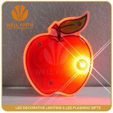 Elegant blinking led badges ,apple shaped led badges for promotional gifts