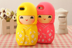 Free Sample! 3D soft Silicon Case for iphone 5 with Lovely Japanese Doll Shaped
