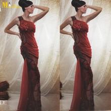 MEV-108 Beautiful Sheath See Through Leg Beaded Long Evening Dresses One Shoulder