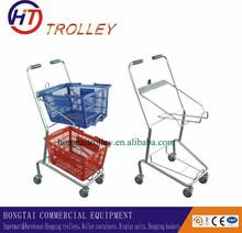 Fruit Shop Metal Wire Handy Supermarket Trolley with 2 Plastic Basket