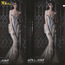 MEV-112 Elegant Mermaid Fishtail Cut Sweetheart Long Crystal Beaded Pleated Famous Designer Evening Dress