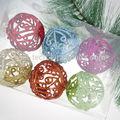 2014 artigo quente! Glittered plástico enfeites de natal bola