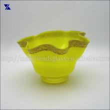 Ruffled Top Hand Blown Art Glass Vase