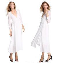 Z71894A EUROPEAN style long sleeve white CHIFFON lady dress