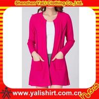 Wholesale bulk cheap o-neck cotton long sleeve ladies cardigan handmade knitting sweaters
