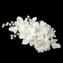 Silver Diamond White Lace Flower w/ Light Ivory Pearl Accent Hair Comb Bridal Hair Comb