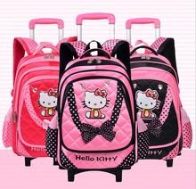 trolley school bag fashion school bag with wheels hello kitty trolley bag