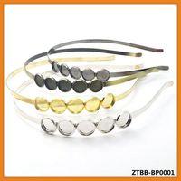 7MM Width Hair bands with 5pcs 12mm round bezel,Headband,Rhodium/Gold/Antique Bronze/Gun Metal Black,headscarf ZTBB-BPB0001