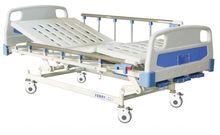 CE ISO approved three function manual hospital bed with ABS headboards