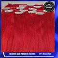 venta al por mayor clip en extensiones del pelo brasileño tejido de color rojo del pelo clip en extensiones