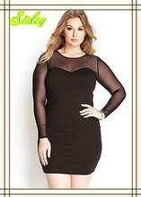 Online Shopping Women Wear Plus Size Elegant Dress Mesh-Trimmed Bodycon Dress