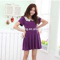 Roxo aleitamento materno roupas curtas vestido de algodão confortável traje para grávidas BK024