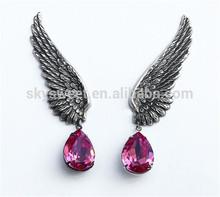 Vintage ear cuff,angel silver wing with rhinestone fashion jewelry(SWTNSXR0010-5)