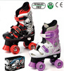 Wholesale adjustable semi-soft skate PU wheels 4 wheel roller skates purple and red roller skate shoes