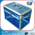 Aluminum cosmetic case with transparent panels