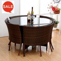 durable outdoor garden rattan sun lounge rattan buffet table leisure chair PRT14816 tempered glass top