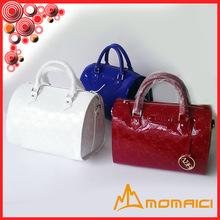 White / Red/Blue color mirror leather woman handbag crossbody bag boston bag with long shoulder strap