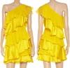 Tiered Silk Chiffon Satin Dress ruffles one shoulder dress