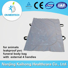 leakproof pvc funeral body bag with external 4 handles for animals