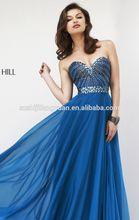 SJ1635 royal blue sweetheart sleeveless high quality low price beaded chiffon 2014 evening gown