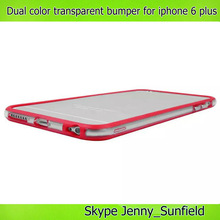Cell phone accessories dual color transparent bumper case for iphone 6 plus,for iphone 6 plus bumper