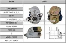 Best quality starter motor starter motor Toyota 84-89 Van 2.0L,2.2L 28100-72030 starter