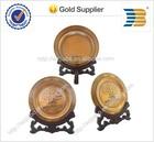 zinc alloy material antique copper plating custom souvenir metal plate with wooden