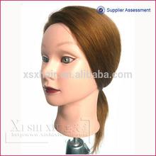 low price silk human hair training head for beauty school