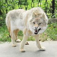 lifesize plastic white plush toy wolf
