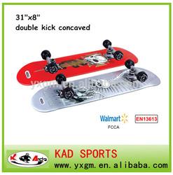 "EN13613 certificate 31""x8"" professional double kick concaved skateboard"