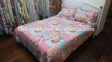 Flower design prined quilt/polyester cotton branded bedding set