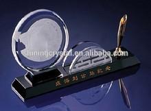 Crystal desk pen holder with name card holder