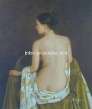 Pintura pintada a mano de las mujeres volver con marcos estirada decoración del hogar