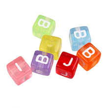 Wholesale 10mm colorful mixed alphabet beads square transparent alphabet beads spacer beads