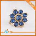 Flor bonita de cristal ouro Big árabe mulheres anel