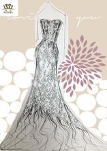 Newest 2015 Gorgeous Ruffle Royal Organza A-line Crystal Lace wedding Dress