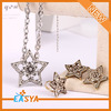 Fashion Zinc Alloy Crystal David Star Necklace Set Jewelry