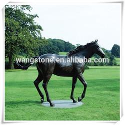Large vivid running horse bronze sculpture for garden decor