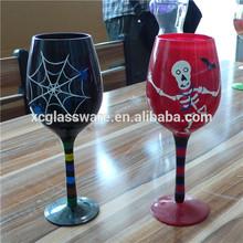 Handmade Glassware Manufacturer hand painting halloween wine glass set